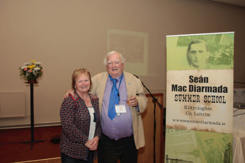 Tim Pat Coogan and a member of the audience member at the Sean MacDiarmada Summer School in Kiltyclogher Co Leitrim