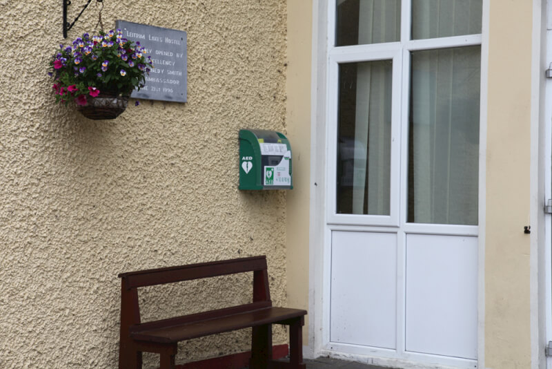 The Defibrillator is located on the wall outside Kiltyclogher Community Centre.